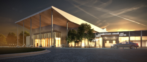 rendering of the front of the new library at night with a car in front. the roof on the left is sweeping upward with posts reaching from the roof to the ground. The front entrance has a lit sign that reads Leonardtown Library and Garvey Senior Activity Center