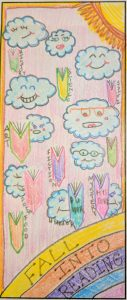 Colored pencil drawing of clouds, a sun, and books with the text Fall Into Reading