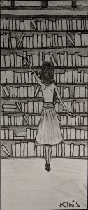 black and white pencil drawing of a girl standing in front of a  bookshelf
