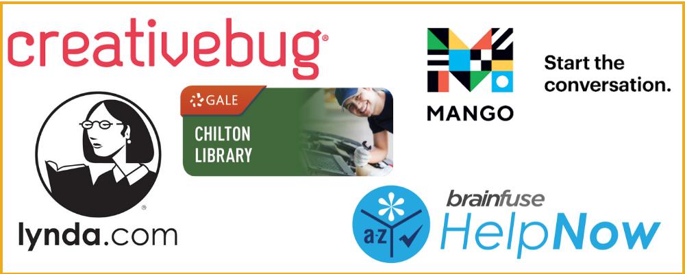 creativebug, chiltonlibrary, lynda.com, mango languages, brainfuse helpnow logos