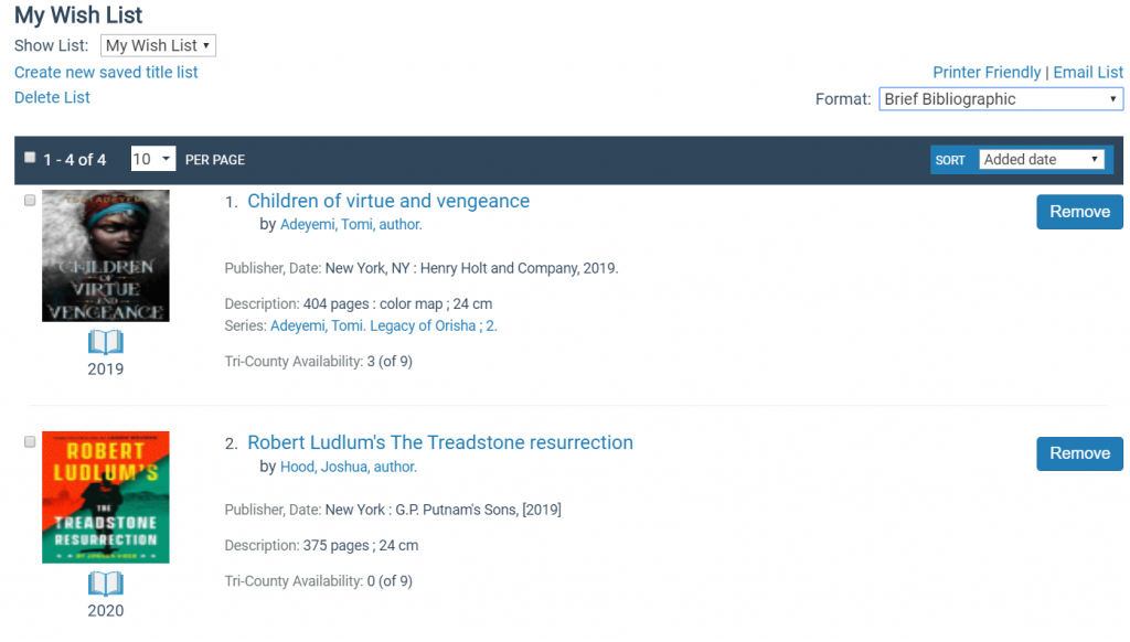 screenshot of a wish list with four titles and buttons to remove them or place a hold