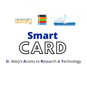 SMCL and SMCPS Logos with Smart Card St. Mary's Access to Research & Technology