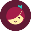 Cartoon figure of a girl with red hair