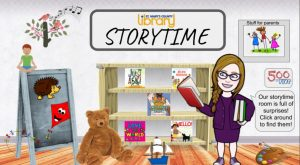 A bitmoji classroom called Storytime. Includes a woman in glasses, bookshelf, teddy bear, flannel board with a kite and hedgehog, sailboat, 500 x 5 logo
