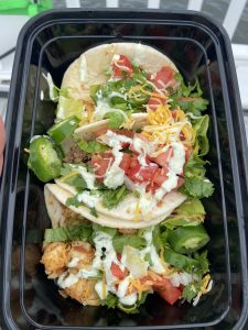 Tacos in a to-go container