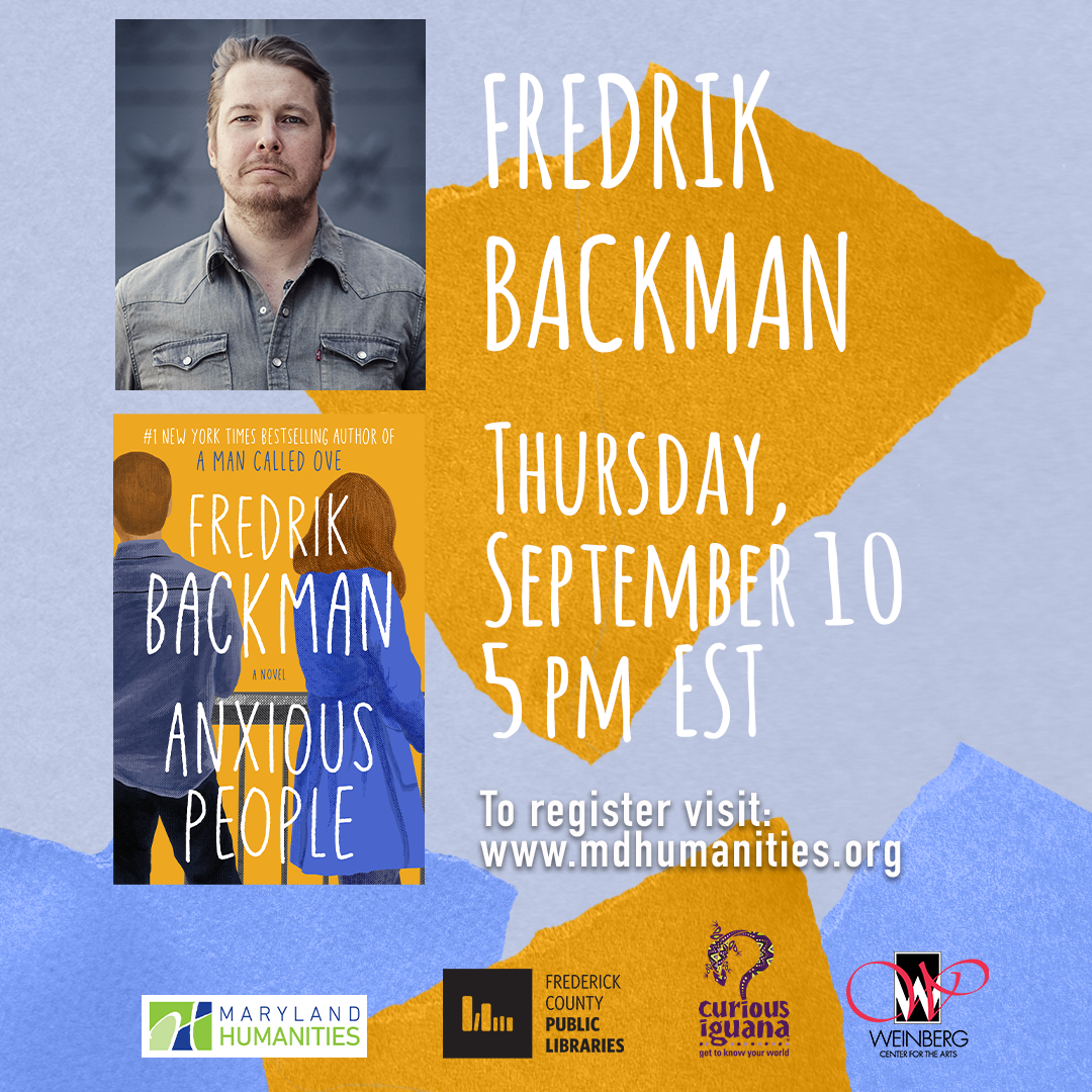 Photo of Frederik Backman and the cover of Anxious People