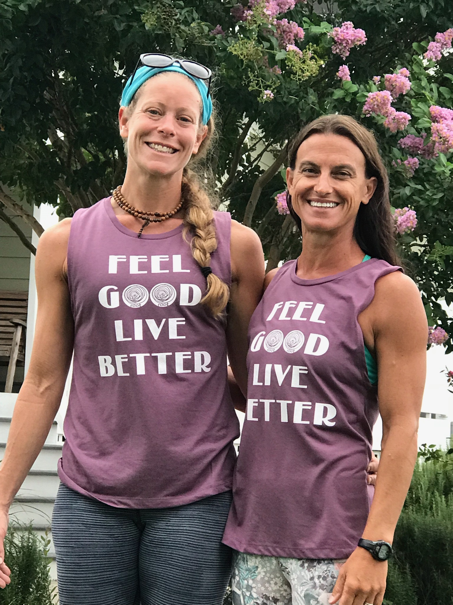 two women in feel good live better tshirts